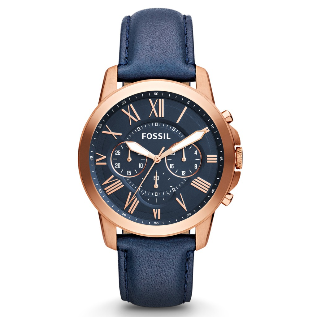 Fossil Grant Multi-function Chronograph Navy Dial Leather Men Watch FS4835