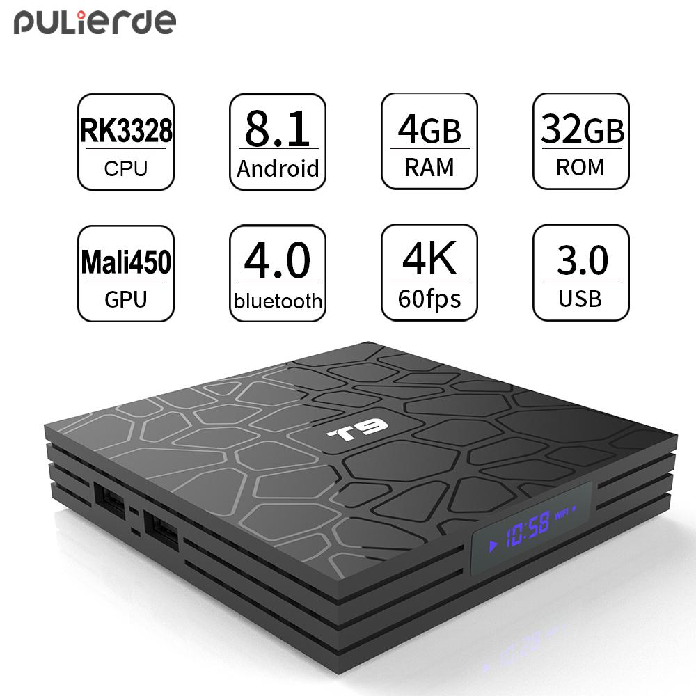 (Pre-installed Channels/Movies Apps) PULIERDE T9 4GB 32GB Android 8 1 TV  BOX RK3328 Quad Core USB 3 0 Bluetooth 4 0 H2 65 4K Smart TV 2 4GHz WIFI