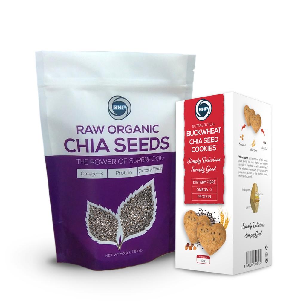 BHP, Organic Chia Seeds 500g + Buckwheat Chia Cookies 100g