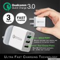 Qualcomm Quick Charge 3.0 | USB 3 Port Fast Quick Charge | 3 Pin Plug Adapter With Safety Mark