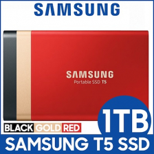 Samsung T5 Portable SSD 1TB [GOLD RED BLACK]- GIFT CASE USB 3.1 External SSD